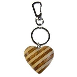 Porte-clé en bois Coeur 3