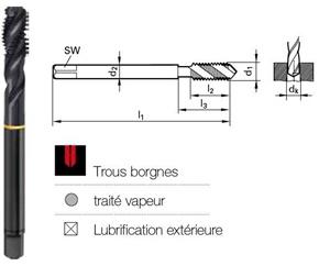 Tarauds hélicoïdale traité vapeur UNF DIN 374-2B