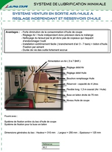Système Venturi en sortie Air/Huile à réglage Indépendant et Réservoir D'huile