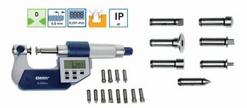 Micromètre d'extérieur digital IP40 avec 7 paires d'embouts interchangeables ORION