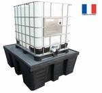 Bac de rétention pour 1 conteneur avec caillebotis acier galvanisé - 1000L