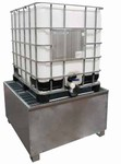 Bac acier de rétention pour 1 conteneur avec caillebotis acier galvanisé à froid - 1000L