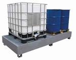 Bac acier de rétention pour 2 conteneurs avec caillebotis acier galvanisé - 1000L