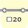 Barre trous renflés �20x20mm 13 trous 20x�20mm