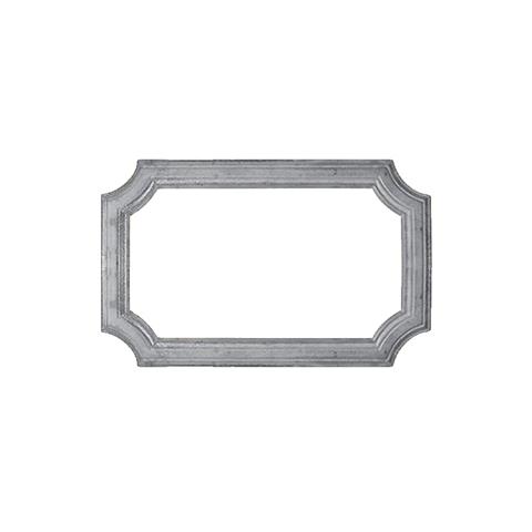 Profil aluminium mouluré de 486x295mm, section 45x10mm
