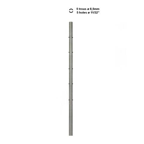 Poteau intermédiaire à l'anglaise percé pour câble traversant INOX316