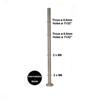 Poteau intermédiaire montage pour câble traversant ø6mm et verre INOX316