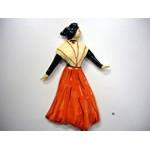 Arlésienne robe rouge châle blanc  24x17cm