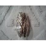 Broche Cigale argentée 3,5x1,5 cm