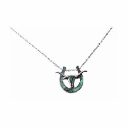 Collier crane de bison fer a cheval imitation coquillage